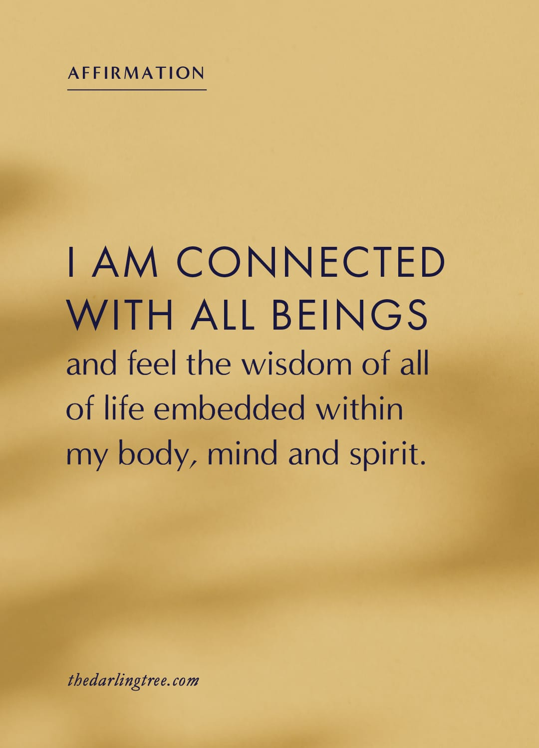 I am connected with all beings