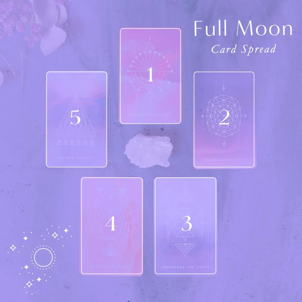 Full Moon Oracle Card Spread - A 5-card spread you can include as part of your new moon practice each cycle